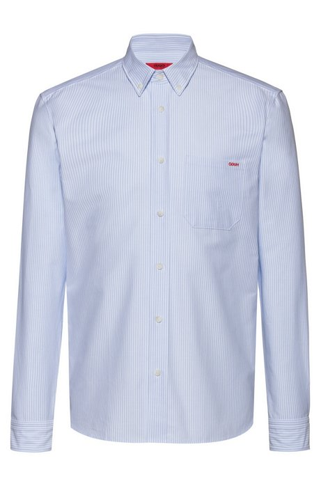 Relaxed-fit button-down shirt in striped Oxford cotton, Patterned