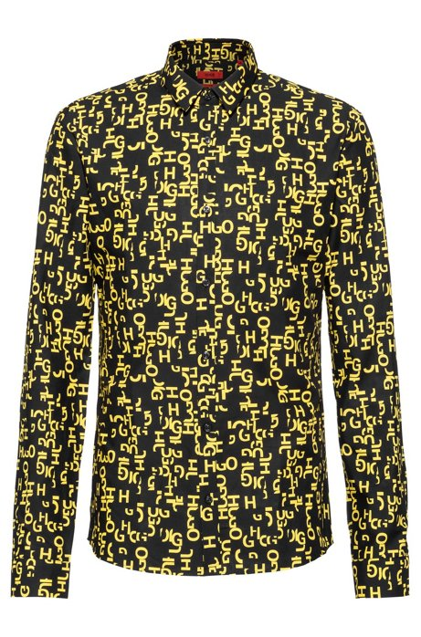 Extra-slim-fit shirt with deconstructed logo print, Patterned