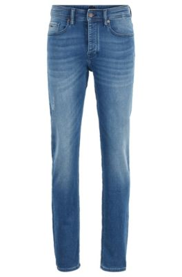 Tapered-Fit Jeans aus gestricktem Stretch-Denim mit Used-Effekten, Blau