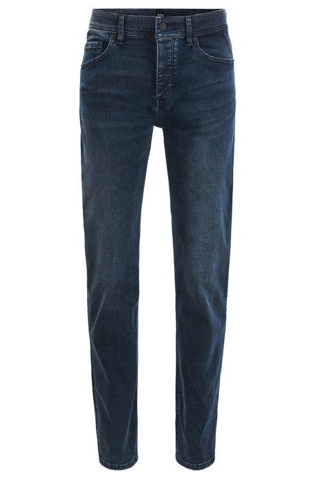 Tapered-fit jeans in super-stretch dark-blue denim, Dark Blue