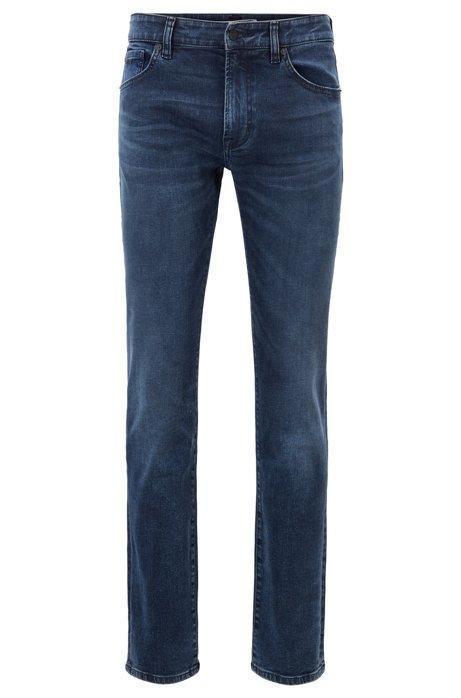 Regular-fit jeans in super-stretch dark-blue denim, Dark Blue