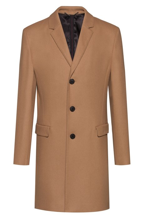 Slim-fit coat in a wool blend, Brown