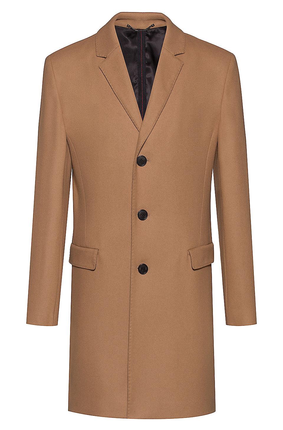 Slim Fit Coat In A Wool Blend by Boss