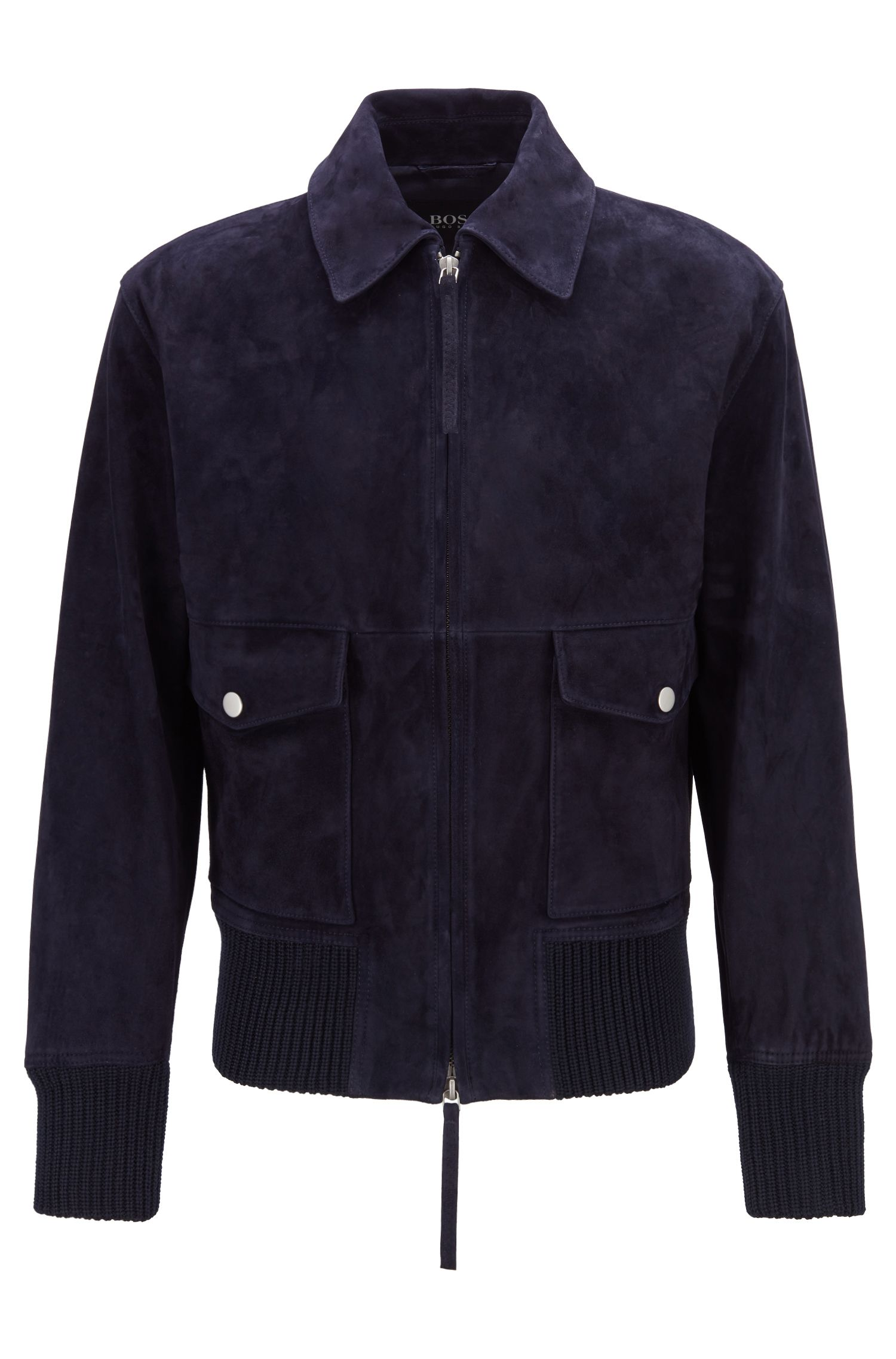 Fashion Show Harrington-Jacke aus weichem Veloursleder, Dunkelblau