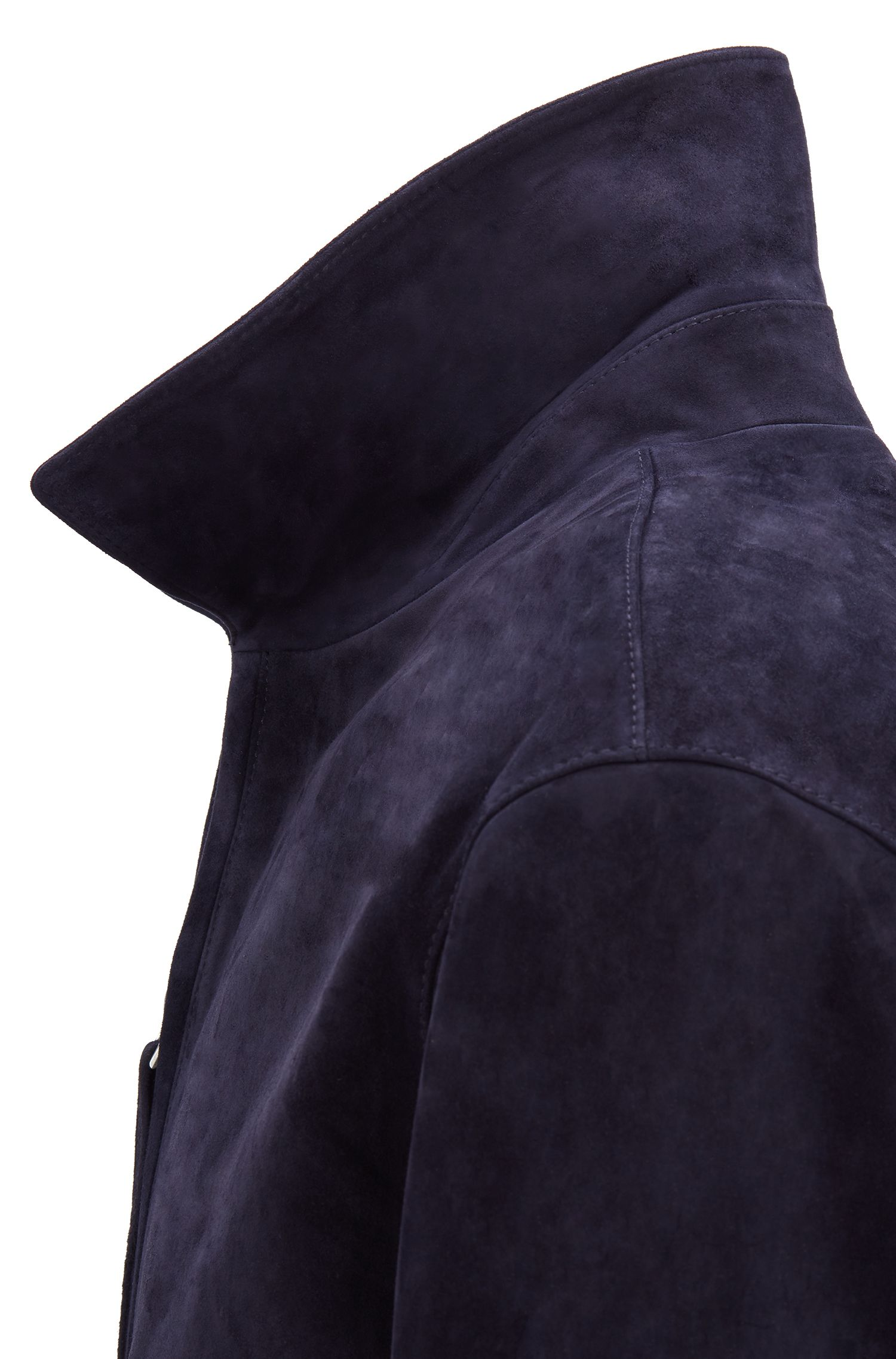 Fashion Show Harrington jacket in soft-touch suede, Dark Blue