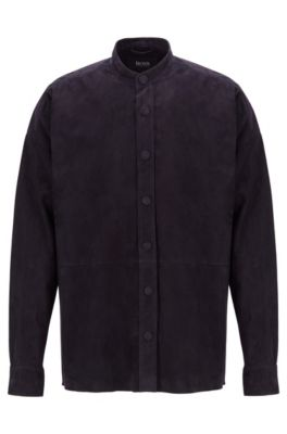 Chemise de défilé en cuir suédé à col montant, Bleu foncé