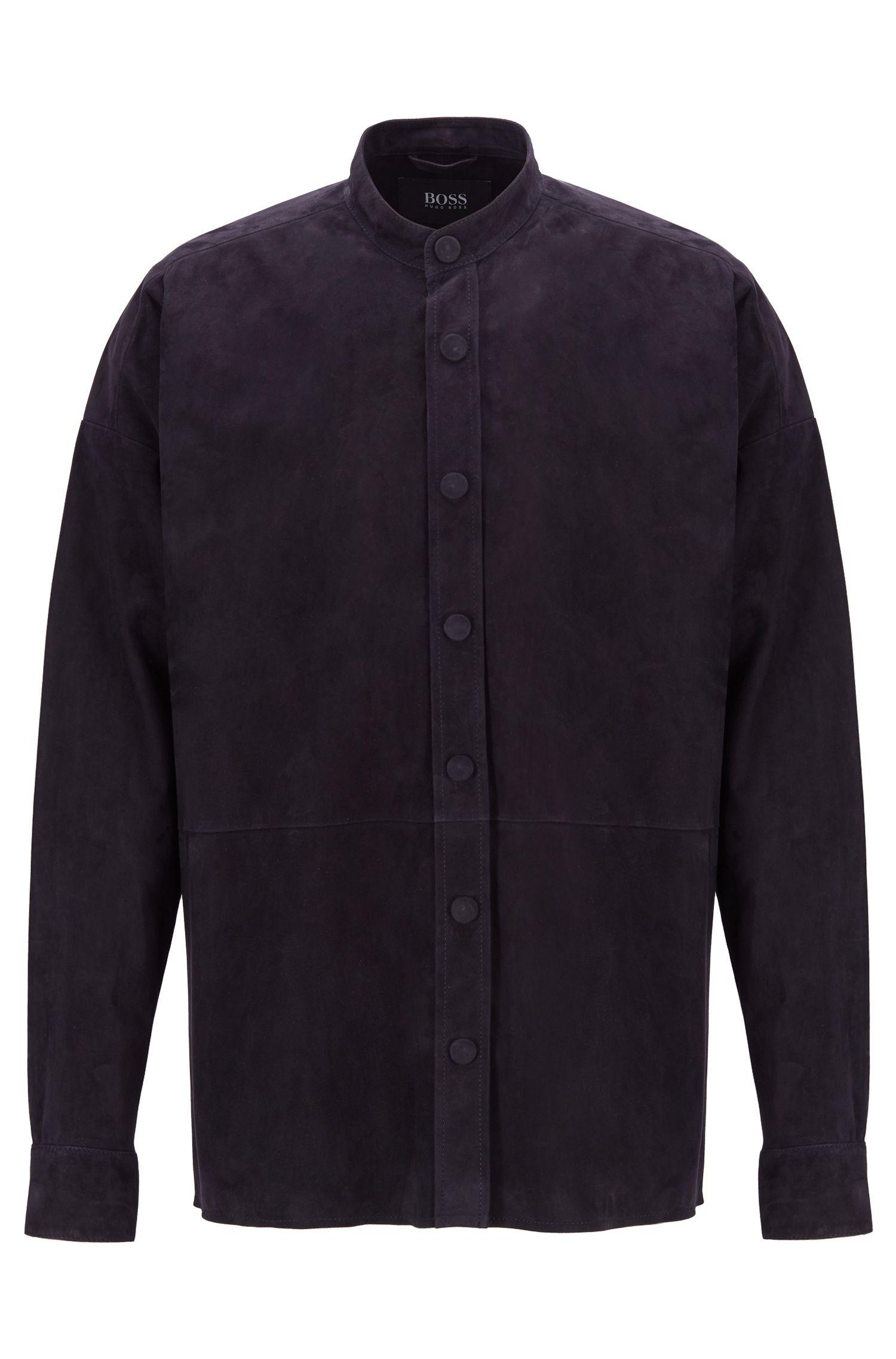 Fashion Show-overhemd van suède met opstaande kraag, Donkerblauw