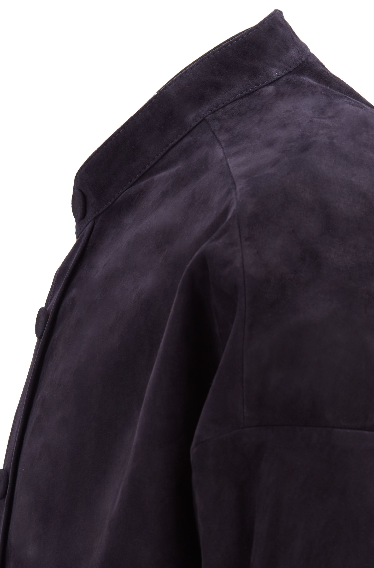 Fashion Show suede shirt with stand collar, Dark Blue