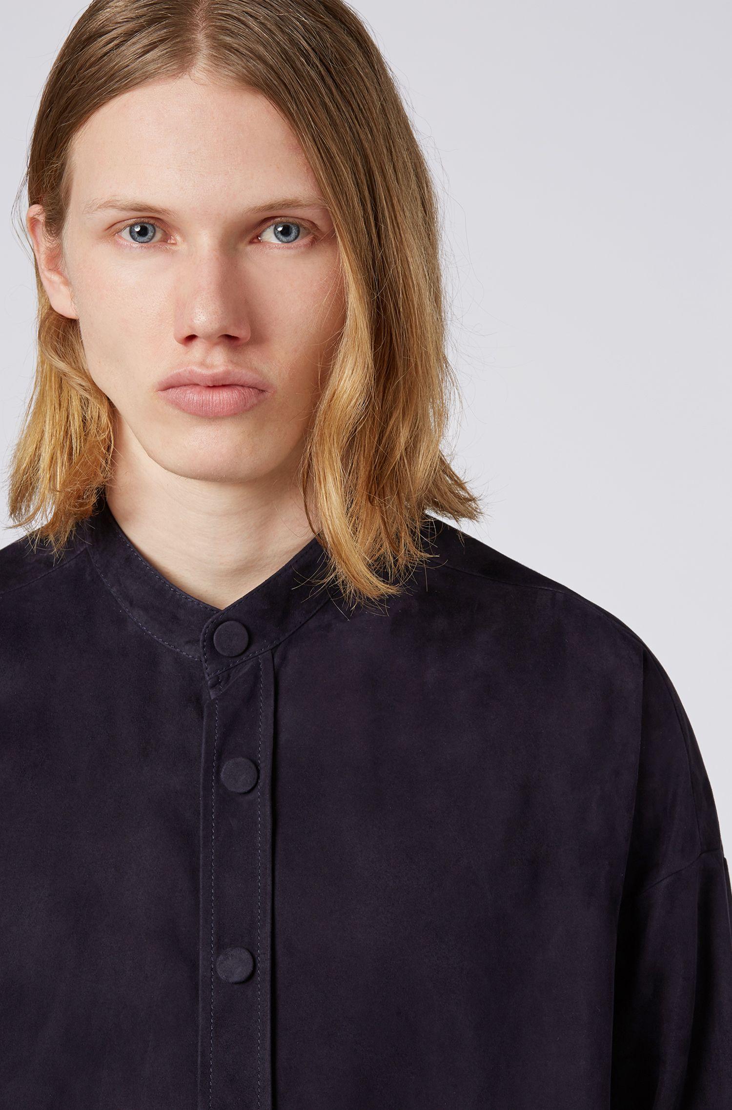 Fashion Show Regular-Fit Hemd aus Veloursleder mit Stehkragen, Dunkelblau