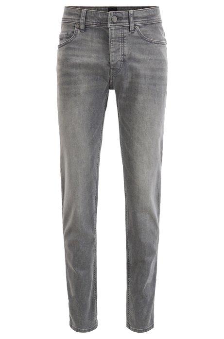 Tapered-fit jeans in super-stretch grey denim, Grey