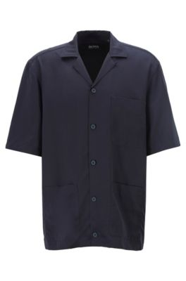 Chemise de défilé à manches courtes avec trois poches plaquées, Bleu foncé