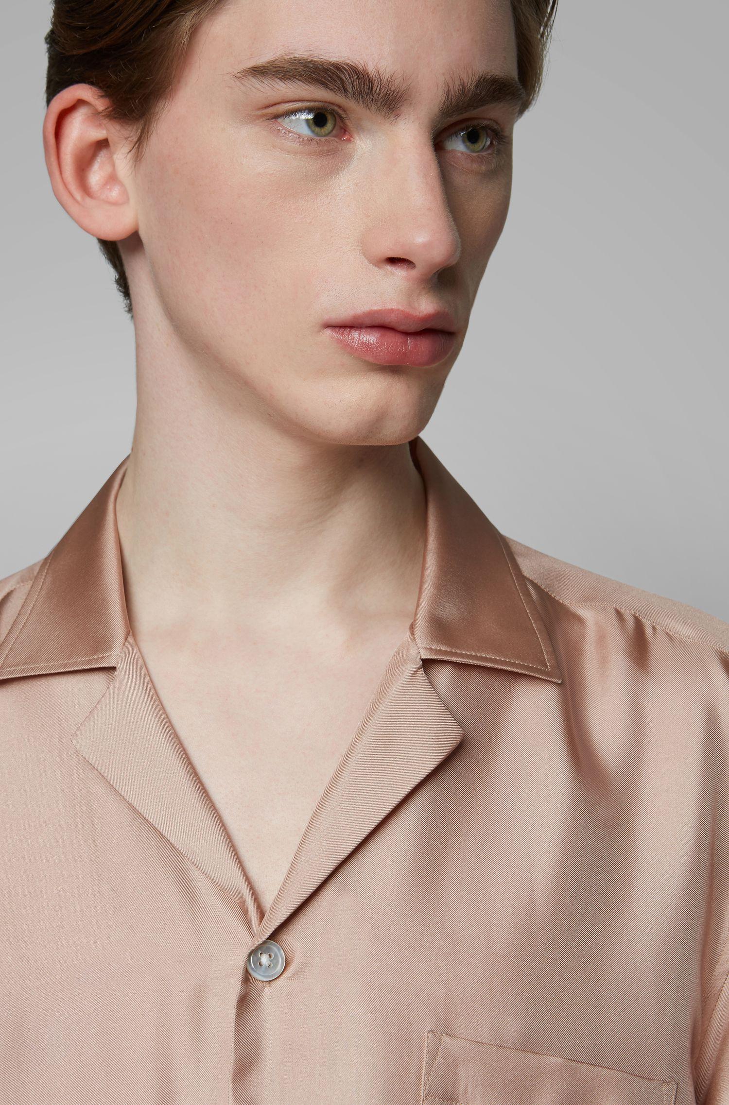 Fashion Show Relaxed-Fit Hemd aus Seide mit Freizeitkragen, Hellrosa