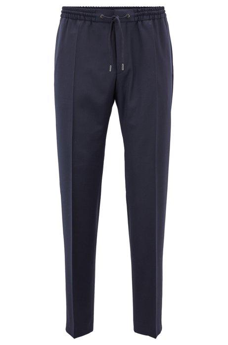 Polo en maille à manches longues en laine vierge, en édition limitée, Bleu foncé