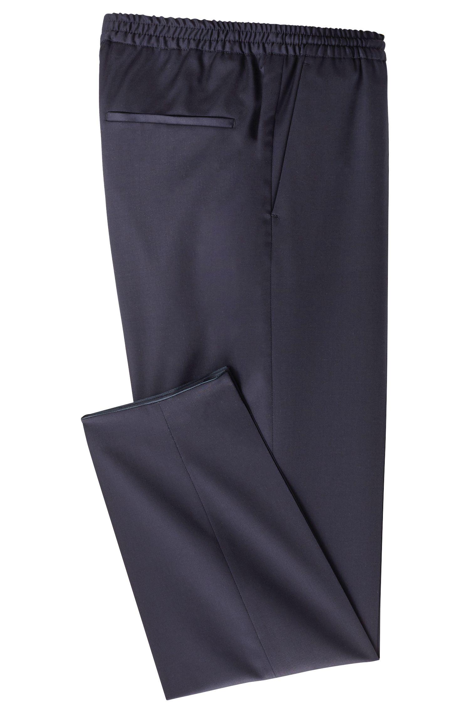 Polo de manga larga de edición limitada en lana virgen, Azul oscuro