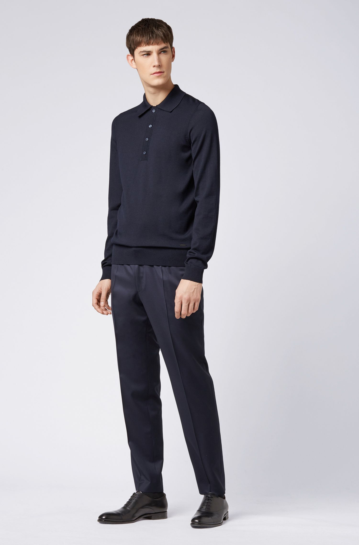 Limited-edition long-sleeved knitted polo shirt in virgin wool, Dark Blue