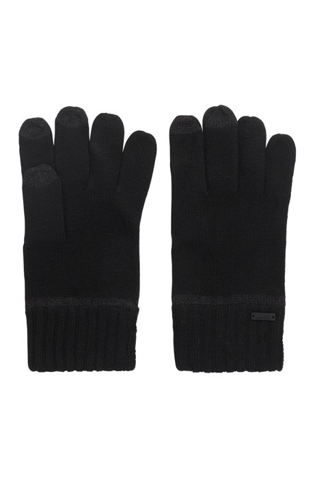 One-size gloves with touchscreen-friendly fingertips, Black
