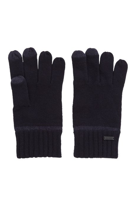 One-size gloves with touchscreen-friendly fingertips, Dark Blue