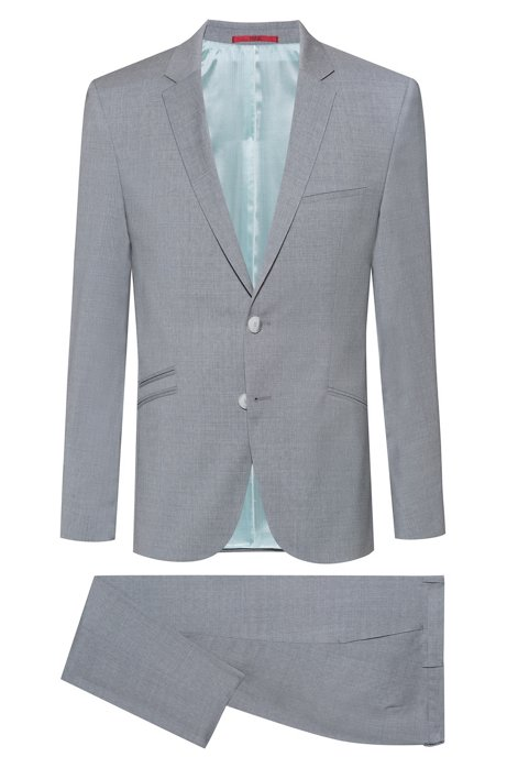 Extra-slim-fit virgin-wool suit with micro pattern, Light Grey