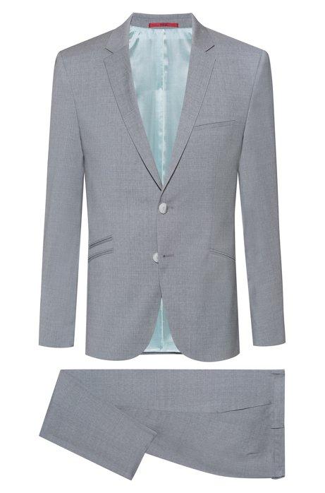 Extra Slim-Fit Anzug aus Schurwolle mit Mikro-Muster, Hellgrau