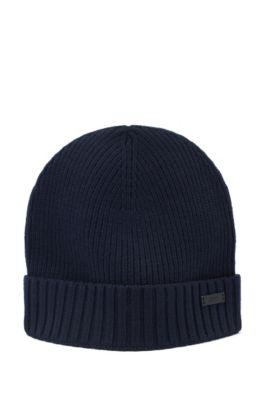 Gorro de punto de lana acanalada con logo metálico, Azul oscuro