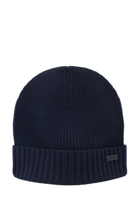 Mütze aus gerippter Wolle mit metallenem Logo-Aufnäher, Dunkelblau