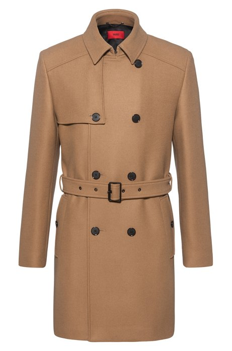 Slim-fit trenchcoat in een twill van een wolmix, Beige