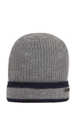 Gerippte Mütze aus Wolle mit kontrastierendem Umschlag, Grau