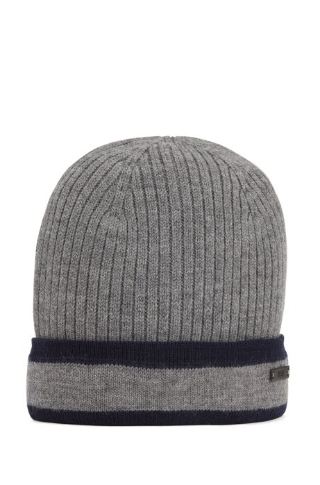 Ribbed beanie hat in wool with contrast trim, Grey