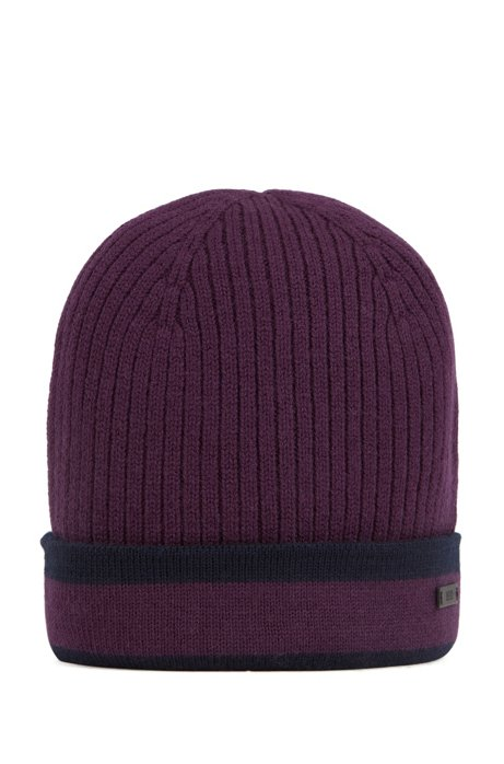 Ribbed beanie hat in wool with contrast trim, Dark Purple