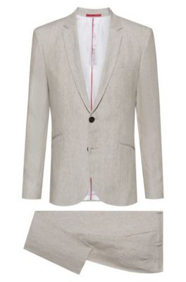 Costume Extra Slim Fit en pur lin, Beige clair