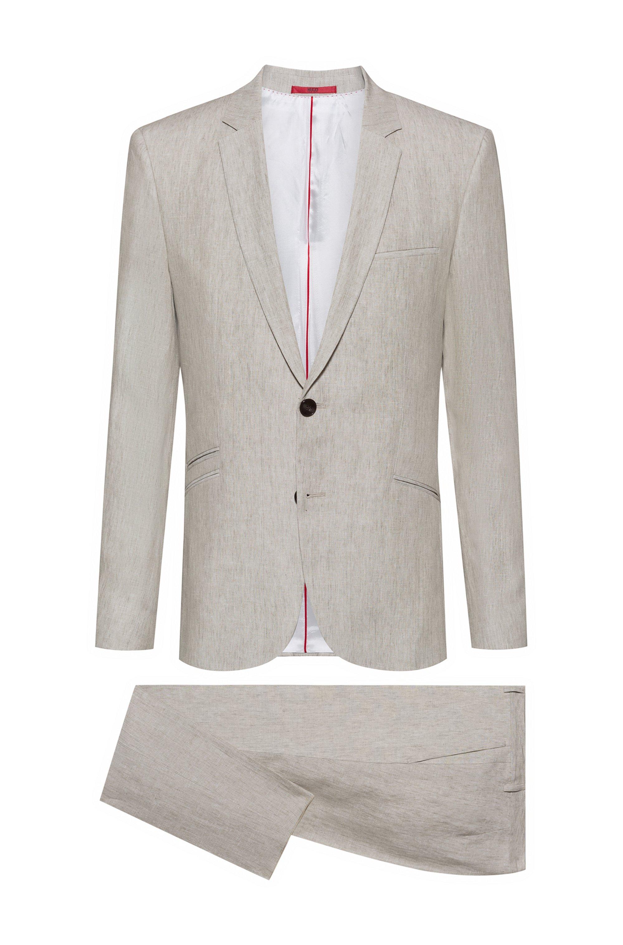 Extra-slim-fit pure-linen suit, Light Beige