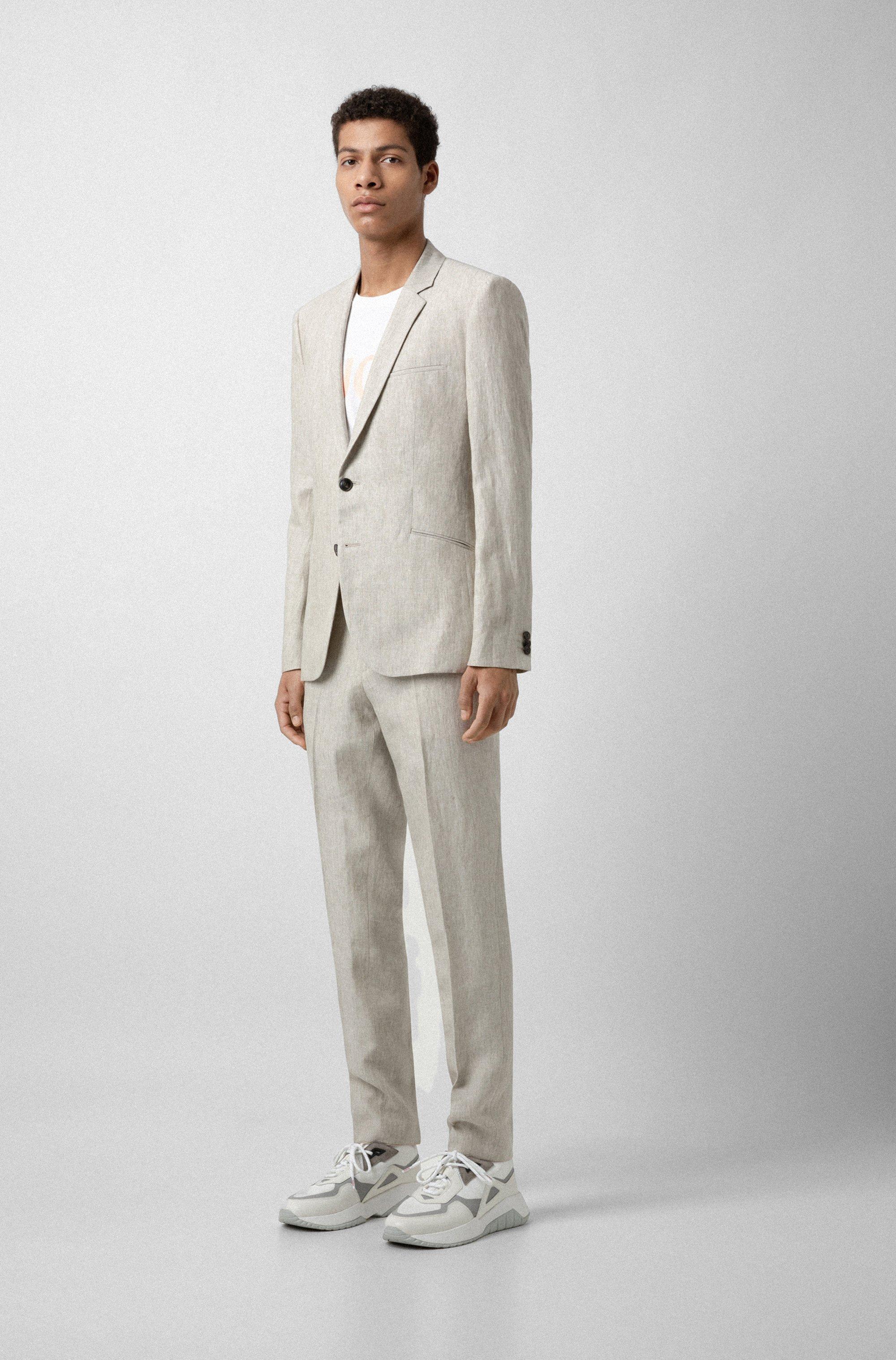 Extra-slim-fit pure-linen suit