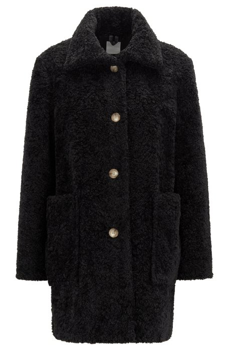 Regular-fit teddy coat with stand collar, Black