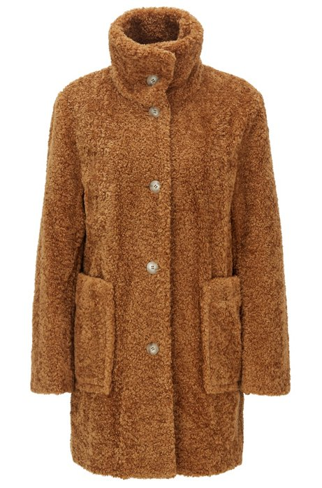 Regular-fit teddy coat with stand collar, Brown