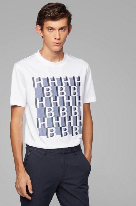 T-Shirt aus merzerisierter Baumwolle mit Monogramm-Print, Weiß