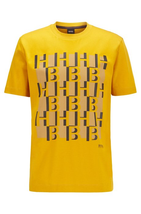 Regular-fit monogram-print T-shirt in mercerised cotton, Yellow