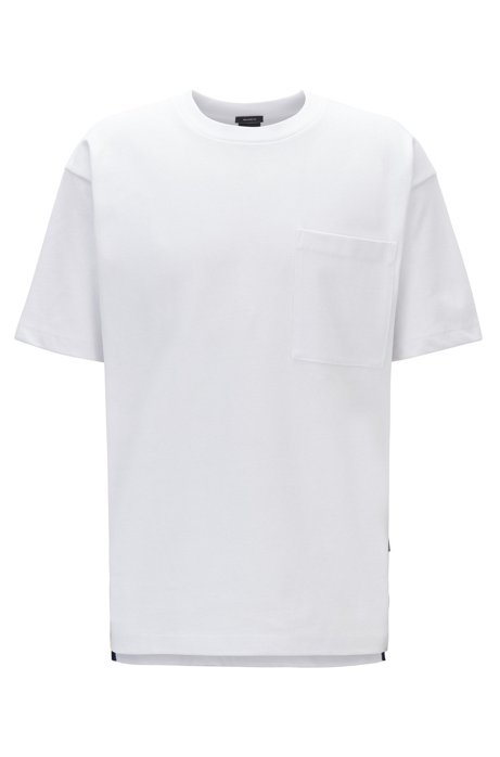 T-shirt Relaxed Fit en jersey simple de coton mélangé, Blanc
