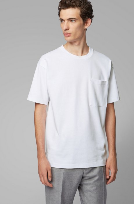 T-shirt relaxed fit in jersey di misto cotone, Bianco