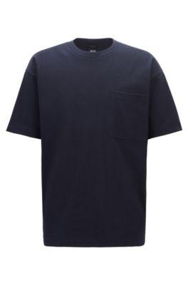 Camiseta relaxed fit en punto sencillo de mezcla de algodón, Azul oscuro