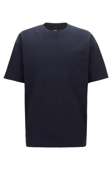 Relaxed-fit T-shirt in cotton-blend single jersey, Dark Blue