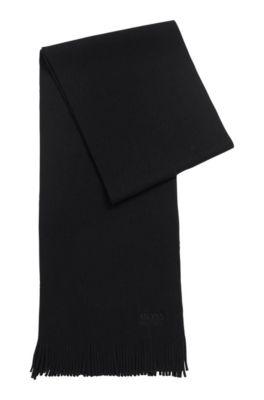 Strukturierter Oversized Schal aus reiner Wolle, Schwarz