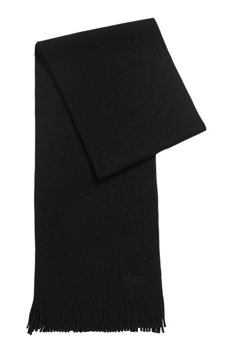 Structured-knit oversized scarf in pure wool, Black