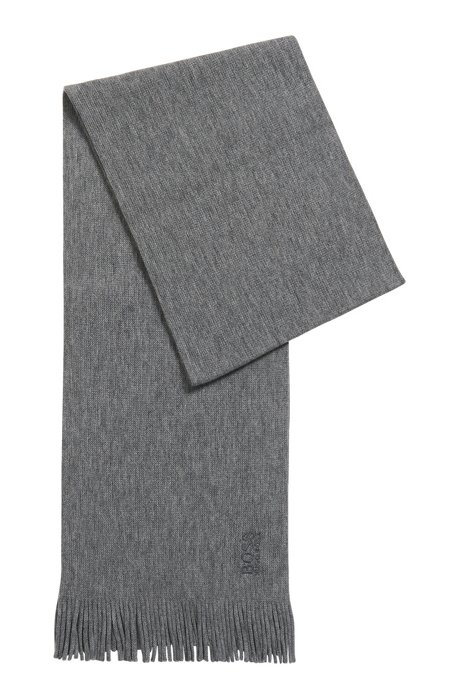 Structured-knit oversized scarf in pure wool, Grey