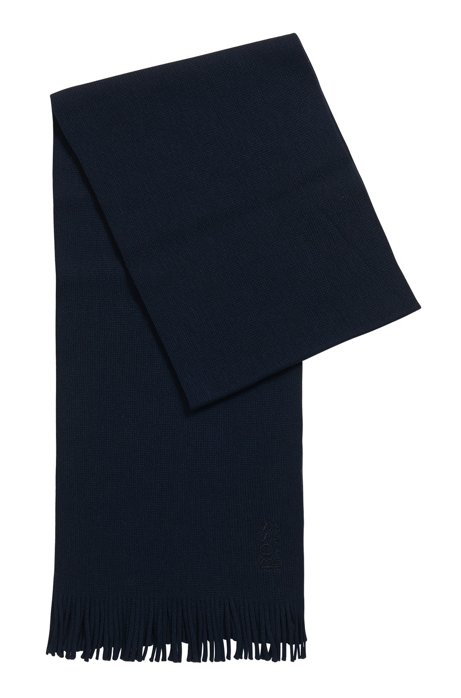 Structured-knit oversized scarf in pure wool, Dark Blue