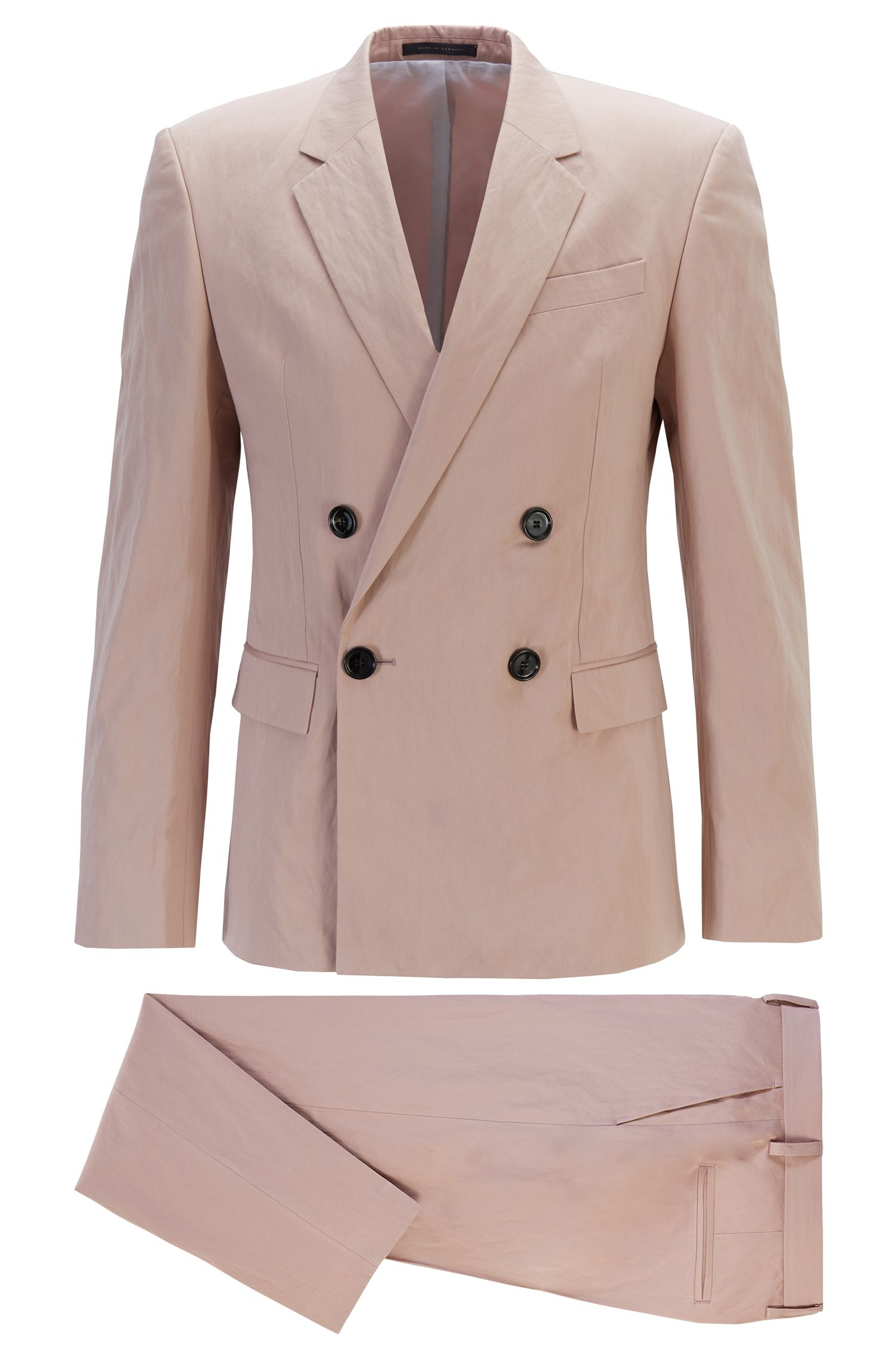Fashion Show slim-fit suit in metallised cotton, light pink