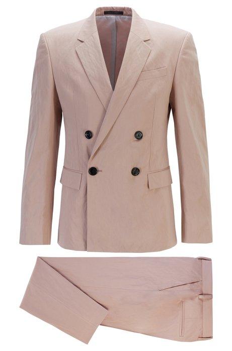Fashion Show Slim-Fit Anzug aus Baumwolle mit Metallic-Fasern, Hellrosa