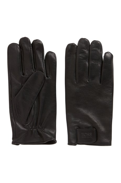 Lambskin gloves with touch-fastening cuff strap, Black