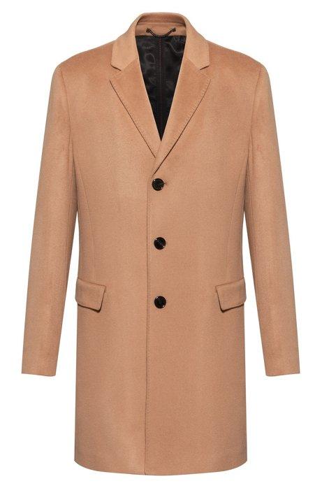 Slim-Fit Mantel aus reinem Kaschmir mit charakteristischen Nähten, Beige