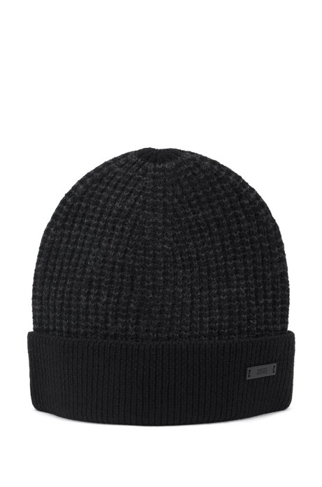 Beanie hat in mouliné wool with contrast edging, Black