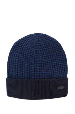 Bonnet en laine moulinée à bords contrastants, Bleu foncé
